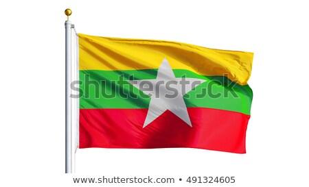 Birma Myanmar vlag geïsoleerd witte Stockfoto © daboost