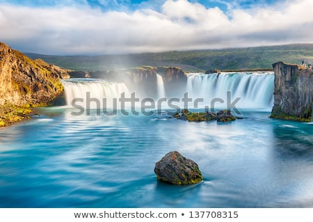 Wodospad kaskada Islandia naturalnych kopia przestrzeń wiosną Zdjęcia stock © Kotenko