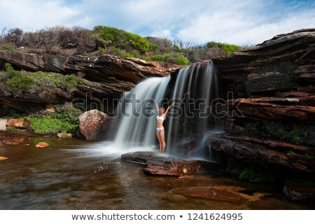 Happy woman standing under a waterfall in bushland wilderness Stock photo © lovleah