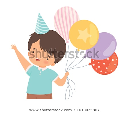Cute boy and bunch of balloons Stock photo © colematt