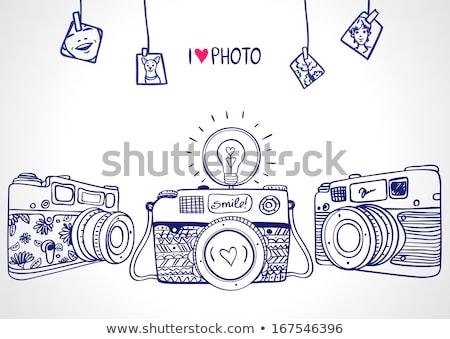 Silueta edad cámara patrón vintage cámaras Foto stock © JeksonGraphics