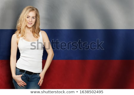 かわいい 少女 フラグ ロシア 実例 子 ストックフォト © colematt