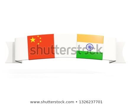 Banner due piazza bandiere Cina India Foto d'archivio © MikhailMishchenko