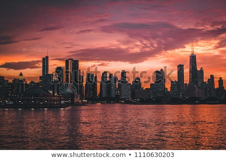 Chicago skyline by night Stock photo © vwalakte