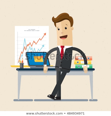 Busy business man. Flat vector illustration Stock photo © makyzz