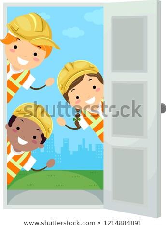 Stickman Kids Hard Hat Door Illustration Stock photo © lenm