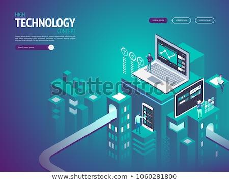 Izometrikus vektor leszállás oldal sablon felhő alapú technológia Stock fotó © TarikVision