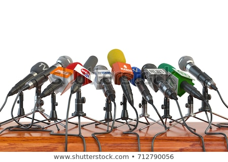 Stock photo: Journalism and press conference concept. Journalist and news reporter. Flat vector illustration