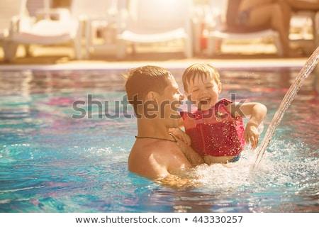 baba · oğul · oynama · havuz · adam · çekim · oyun - stok fotoğraf © galitskaya