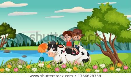 Dier koe ingesteld meisje voertuigen boten Stockfoto © toyotoyo