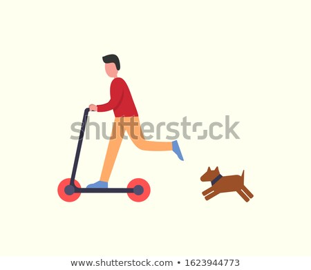 Man Riding Scooter Pet Dog Following Owner Running Stock photo © robuart