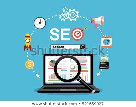 Keresés optimalizálás üzleti csapat megafon média ikonok Stock fotó © RAStudio