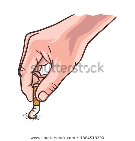 Kéz tünet lánc dohányzás illusztráció ki Stock fotó © lenm