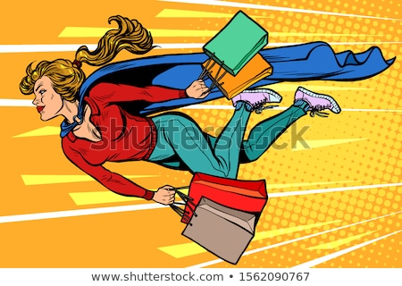 superhero woman flying with shopping. sales and discounts in stores Stock photo © studiostoks