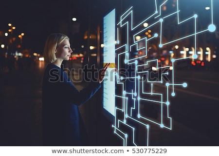 女性 触れる ウェブ ホログラム 画面 現代 ストックフォト © ra2studio