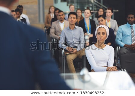 フロント 表示 白人 男性 スピーカー マイク ストックフォト © wavebreak_media
