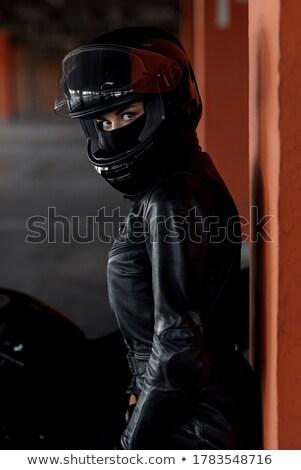Dziewczyna motocykla kask ilustracja ulicy życia Zdjęcia stock © adrenalina