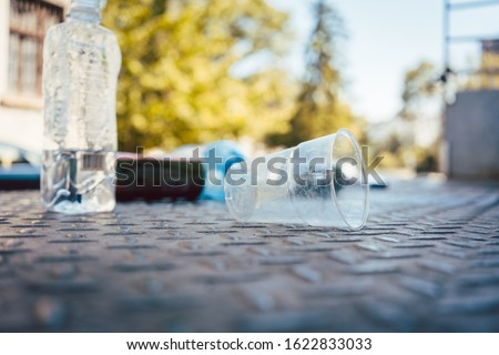 Plastic waste on the floor in aftermath of a party Stock photo © Kzenon