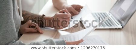 Szöveg modern laptop képernyő iroda környezet Stock fotó © Mazirama