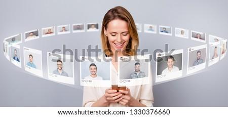 Chat online dating przyjaźni izometryczny Zdjęcia stock © -TAlex-