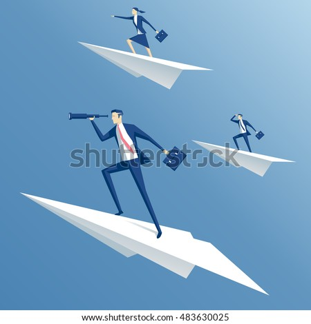 Business Team on Paper Plane, Ambitious People Stock photo © robuart