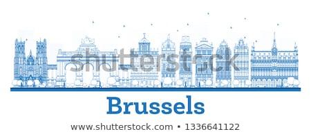 Skicc Brüsszel sziluett kék épületek üzleti út Stock fotó © ShustrikS