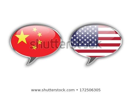 Dos personas blanco EUA China banderas Foto stock © evgeny89