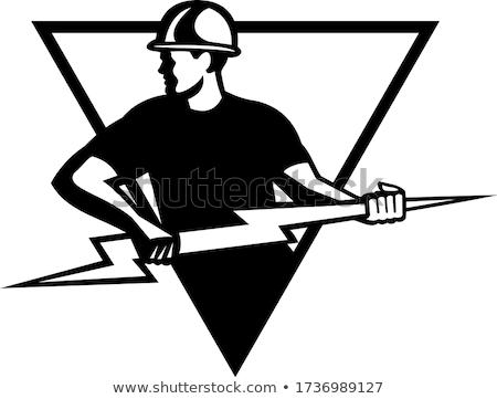 Power Lineman With Thunderbolt Triangle Black and White Stock photo © patrimonio