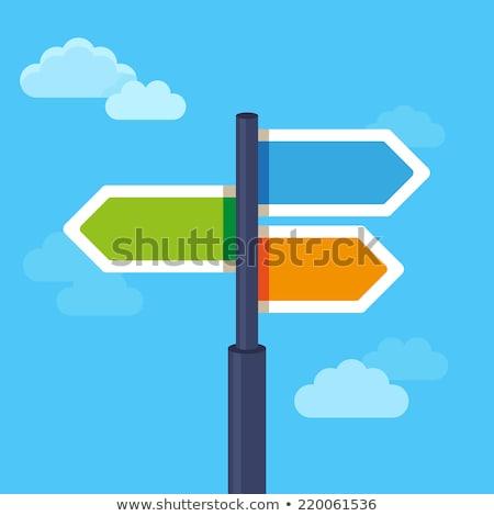 Маркетинговая · стратегия · дорожный · знак · бизнеса · дороги · облаке · Billboard - Сток-фото © kbuntu