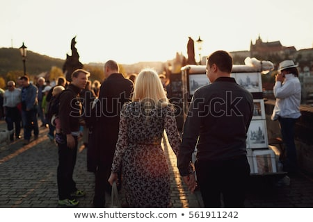Foto stock: Praga · edad · encantador · calle · edificios · carretera