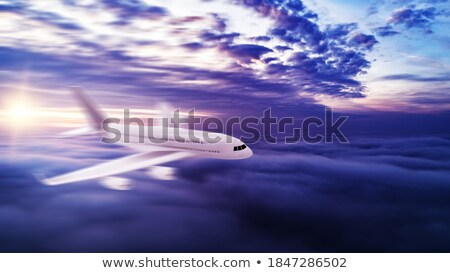 Wing of a jetliner against beautiful blue sky Stock photo © williv