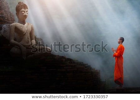 little monk statue in Thailand temple Stock photo © sweetcrisis