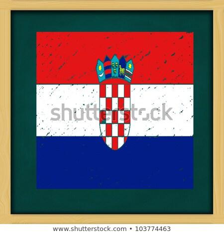 square green chalkboard with Croatia flag Stock photo © nuiiko