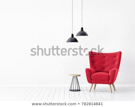 fehér · szék · lámpa · piros · belsőépítészet · jelenet - stock fotó © ciklamen