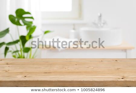 Fürdőszoba felismerhetetlen nő mögött nedves ajtó Stock fotó © Novic