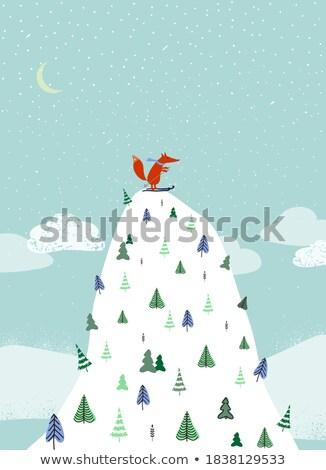 Vermelho esquiador primeiro passos Foto stock © karelin721