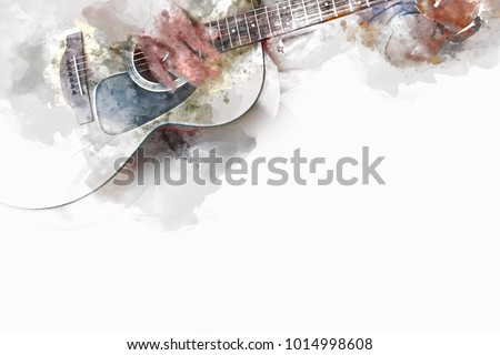 Acoustic Guitar and Drums on Stage Stock photo © winterling