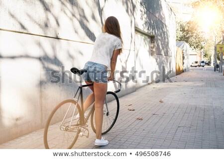 красивой Привлекательная женщина женщину позируют серый рубашку Сток-фото © bartekwardziak