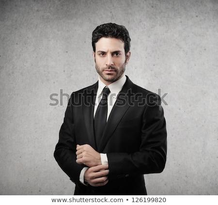 homem · dedo · lábios · retrato · jovem - foto stock © feedough
