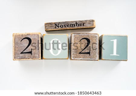 november in 3d wooden cubes Stock photo © marinini