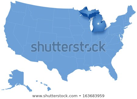 Map of States of the United States where Michigan is pulled out Stock photo © Istanbul2009