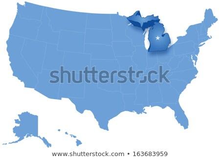 Mappa Stati Uniti Michigan fuori politico tutti Foto d'archivio © Istanbul2009