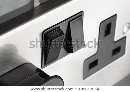 Stock fotó: Dupla · elektromos · erő · foglalat · konyha · fal