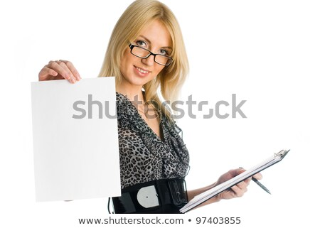 Kız levha genç kadın kâğıt yalıtılmış Stok fotoğraf © Aikon