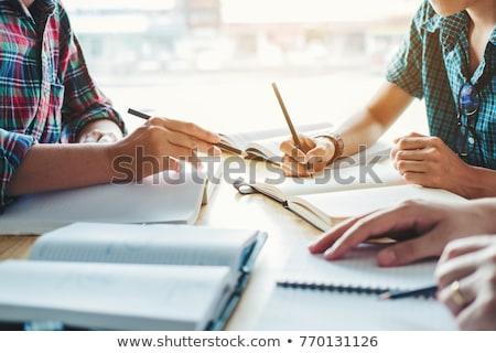 青少年 勉強 一緒に 笑顔 学校 ノートパソコン ストックフォト © ambro