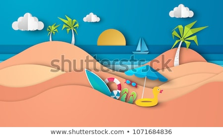 Foto stock: Guarda-sol · brinquedo · barco · mar · colorido · inflável