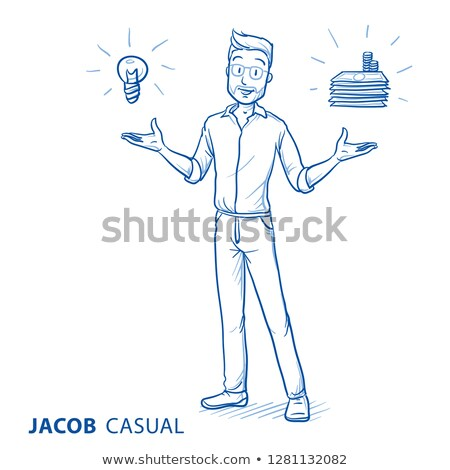 Young man with sketchy icons Stock photo © stockyimages