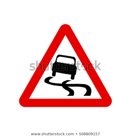 Scivoloso cartello stradale illustrazione neve pneumatici strada Foto d'archivio © adrenalina
