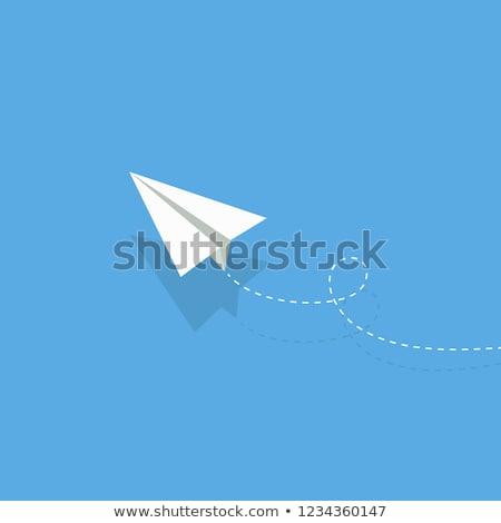 papieru · origami · płaszczyzny · latać · w · górę · szary - zdjęcia stock © nalinratphi