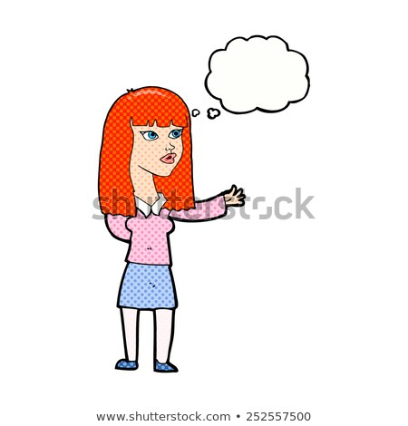 cartoon woman gesturing to show something with thought bubble Stock photo © lineartestpilot